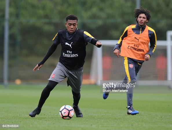 Alex Iwobi of Arsenal during a training session on February 19 2017 in St Albans England