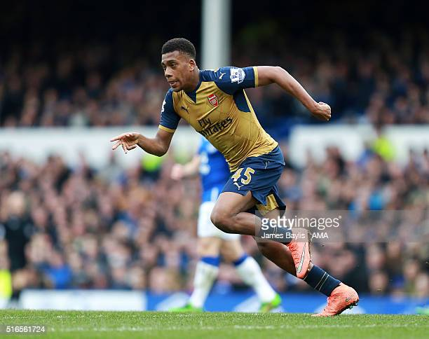 Alex Iwobi of Arsenal during the Barclays Premier League match between Everton and Arsenal at Goodison Park on March 19 2016 in Liverpool England