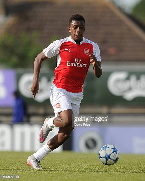 Alex Iwobi of Arsenal during the match between Arsenal and Olympiacos in the UEFA Youth League on September 29 2015 in Borehamwood United Kingdom