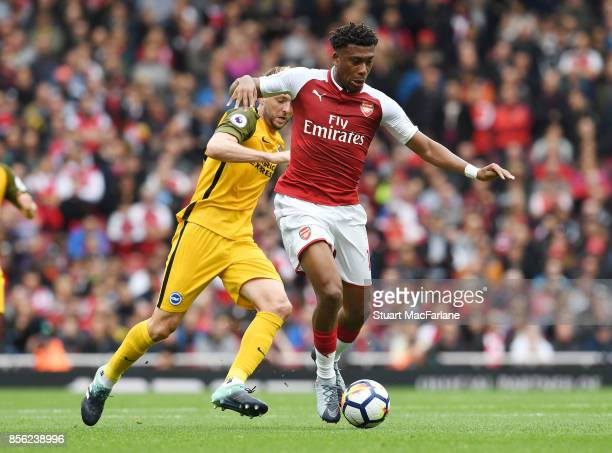 Alex Iwobi of Arsenal during the Premier League match between Arsenal and Brighton and Hove Albion at Emirates Stadium on September 30 2017 in London...