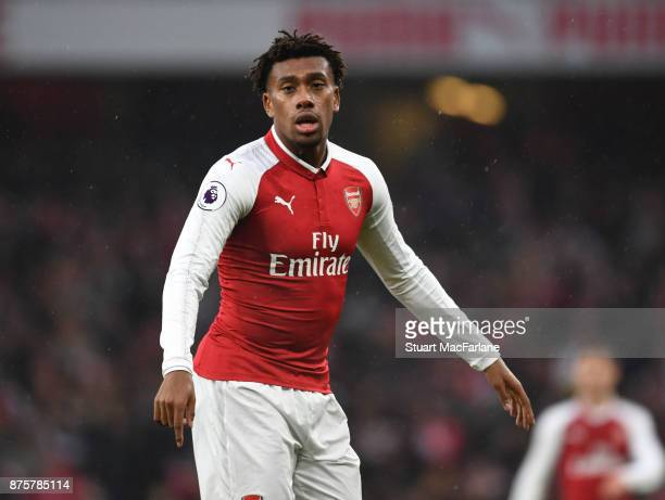 Alex Iwobi of Arsenal during the Premier League match between Arsenal and Tottenham Hotspur at Emirates Stadium on November 18 2017 in London England