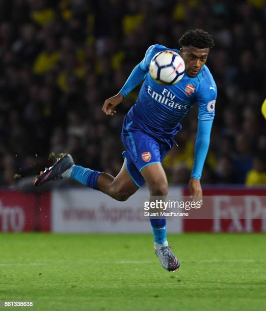 Alex Iwobi of Arsenal during the Premier League match between Watford and Arsenal at Vicarage Road on October 14 2017 in Watford England