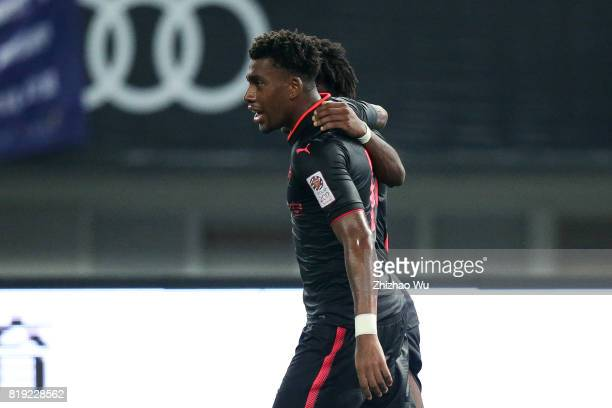 Alex Iwobi of Arsenal FC celebrates with his teammates after scoring a goal by penalty during the 2017 International Champions Cup China match...
