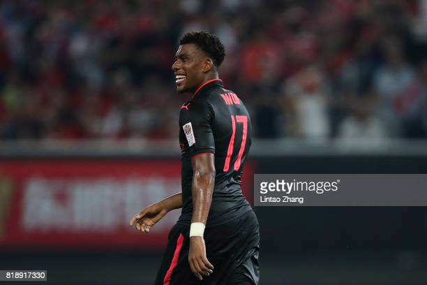 Alex Iwobi of Arsenal FC looks on during the 2017 International Champions Cup football match between FC Bayern and Arsenal FC at Shanghai Stadium on...