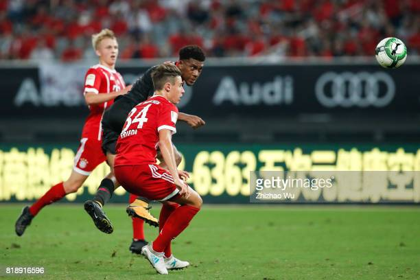 Alex Iwobi of Arsenal FC scored by head shot during the 2017 International Champions Cup China match between FC Bayern and Arsenal FC at Shanghai...