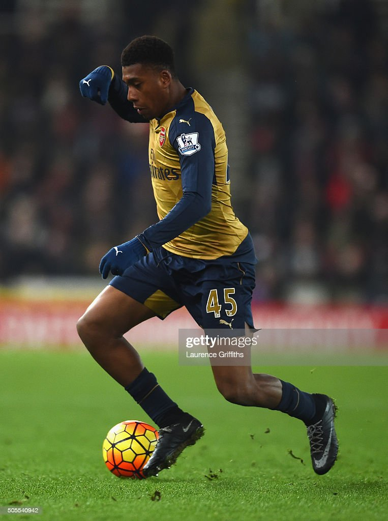 Alex Iwobi of Arsenal in action during the Barclays Premier League match between Stoke City and Arsenal at The Britannia Stadium on January 17, 2016 in Stoke on Trent, England.
