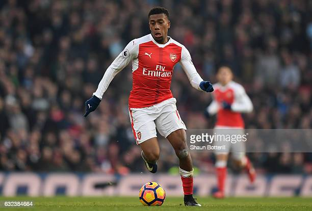 Alex Iwobi of Arsenal in action during the Premier League match between Arsenal and Burnley at the Emirates Stadium on January 22 2017 in London...