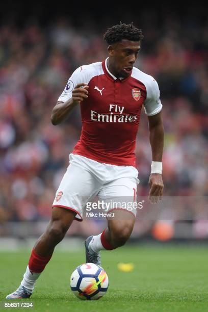 Alex Iwobi of Arsenal in action during the Premier League match between Arsenal and Brighton and Hove Albion at Emirates Stadium on October 1 2017 in...