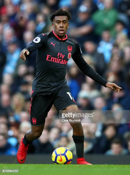Alex Iwobi of Arsenal in action during the Premier League match between Manchester City and Arsenal at Etihad Stadium on November 5 2017 in...