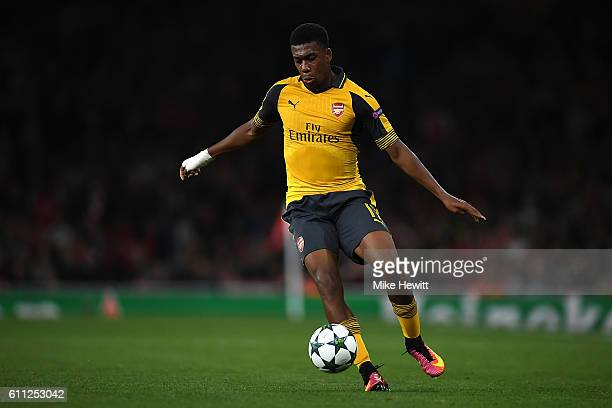 Alex Iwobi of Arsenal in action during the UEFA Champions League match between Arsenal FC and FC Basel 1893 at Emirates Stadium on September 28 2016...