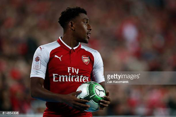 Alex Iwobi of Arsenal looks to take a throwin during the match between the Western Sydney Wanderers and Arsenal FC at ANZ Stadium on July 15 2017 in...