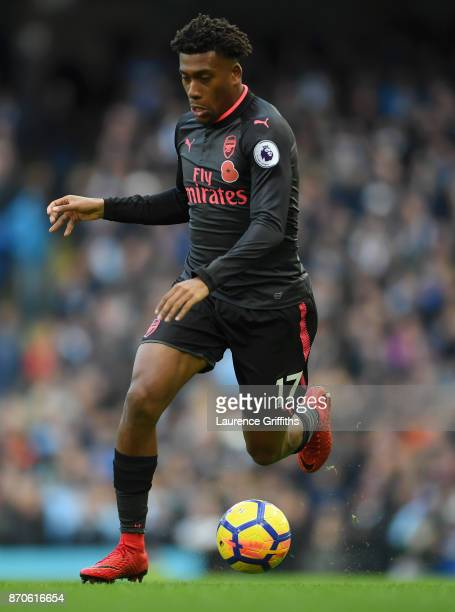 Alex Iwobi of Arsenal on the ball during the Premier League match between Manchester City and Arsenal at Etihad Stadium on November 5 2017 in...