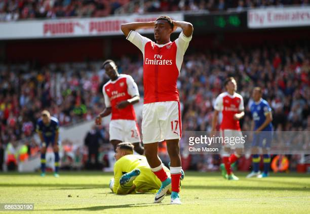 Alex Iwobi of Arsenal reacts during the Premier League match between Arsenal and Everton at Emirates Stadium on May 21 2017 in London England