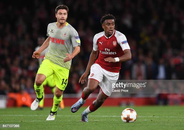Alex Iwobi of Arsenal takes on Jonas Hector of Koeln during the UEFA Europa League group H match between Arsenal FC and 1 FC Koeln at Emirates...