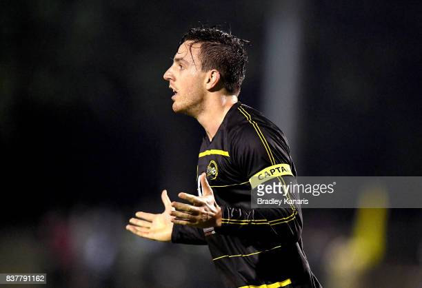 Alex Janovsky of Moreton Bay reacts to the Referee's call during the FFA Cup round of 16 match between Moreton Bay United and Gold Coast City at...