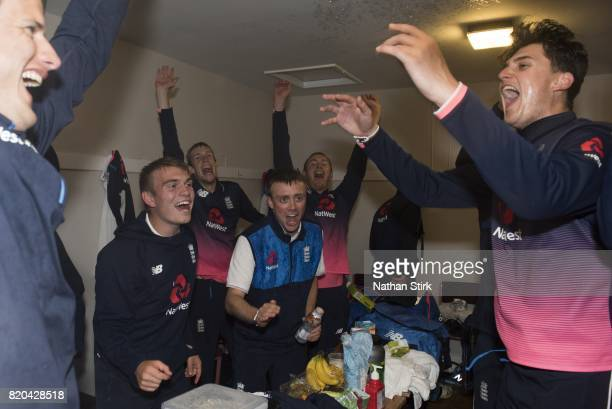 Alex Jarvis and Tom Perry of England celebrates after they win the INAS Learning Disability TriSeries Trophy Final match between England and South...