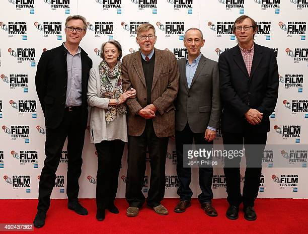 Alex Jennings Maggie Smith Alan Bennett Nicholas Hytner and Kevin Loader at The Lady In The Van photocall at Claridges on October 13 2015 in London...