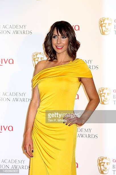 Alex Jones poses in front of the winners boards at The 2012 Arqiva British Academy Television Awards at the Royal Festival Hall on May 27 2012 in...