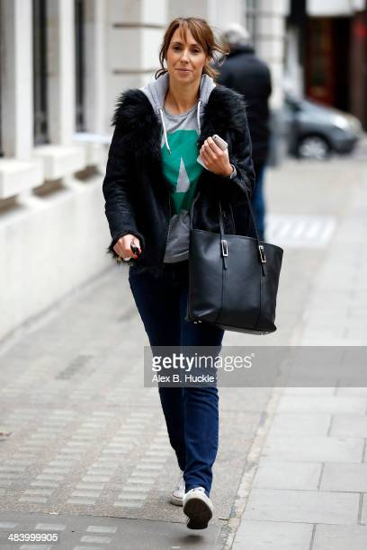 Alex Jones sighted leaving the BBC Radio 2 Studios on April 11 2014 in London England