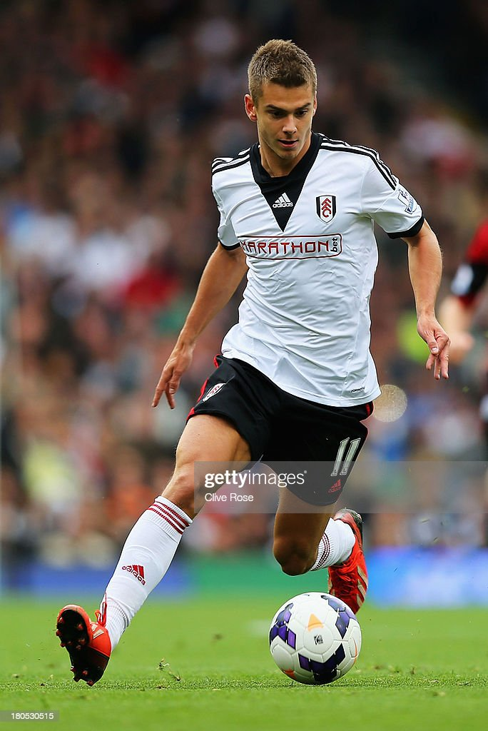 Alex Kacaniklic of Fulham in action during the Barclays Premier League match between Fulham and West Bromwich Albion at Craven Cottage on September 14, 2013 in London, England.