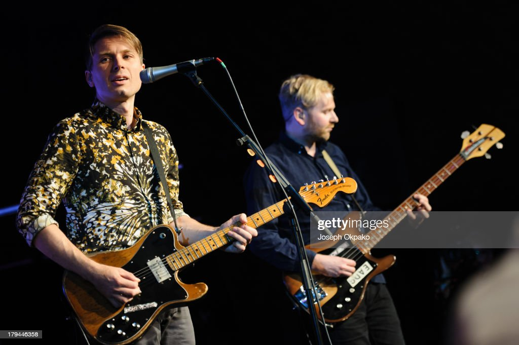 <a gi-track='captionPersonalityLinkClicked' href=/galleries/search?phrase=Alex+Kapranos&family=editorial&specificpeople=206835 ng-click='$event.stopPropagation()'>Alex Kapranos</a> and Bob Hardy of Franz Ferdinand performs at the AIM Independent Music Awards at The Brewery on September 3, 2013 in London, England.