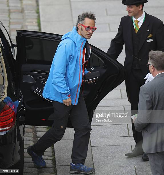 Alex Karp CEO of Palantir Technologies arrives at the Hotel Taschenbergpalais Kempinski Dresden for the 2016 Bilderberg Group conference on June 9...