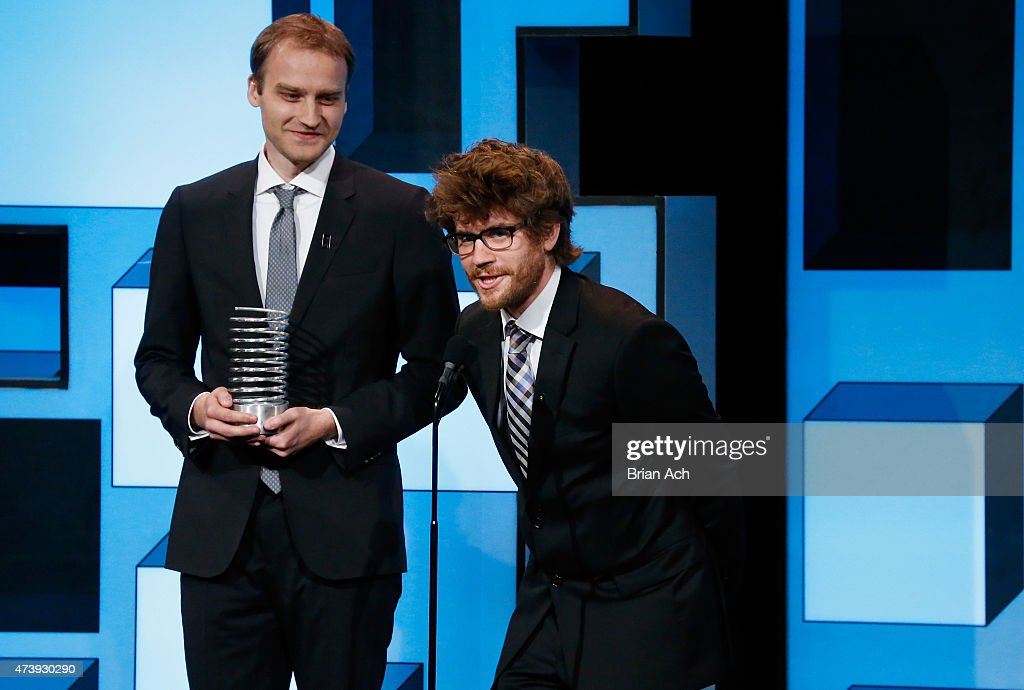 Alex Karpenko (L) and Thomas Dimson of the OutCast Agency accept an award on stage during the 19th Annual Webby Awards on May 18, 2015 in New York City.