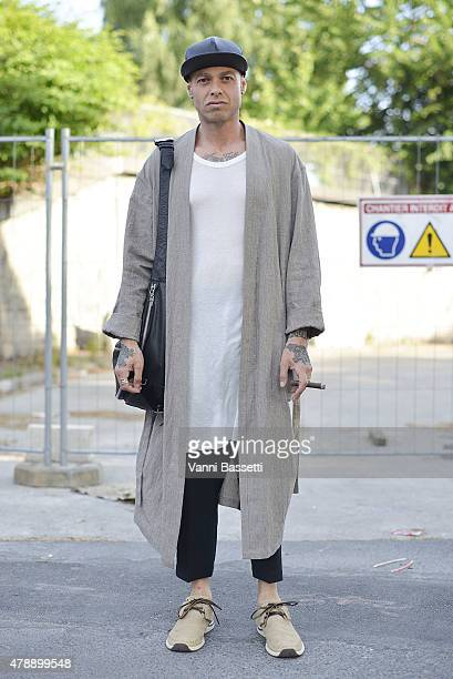 Alex Kasavin poses after the Thom Browne show at the Paris Event Center on June 28 2015 in Paris France