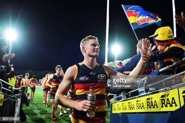 Alex Keath of the Crows walks from the field after the round 18 AFL match between the Adelaide Crows and the Geelong Cats at Adelaide Oval on July 21...