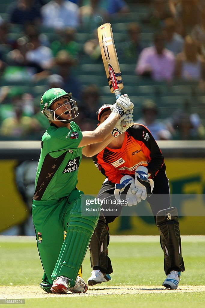 Alex Keath of the Stars plays a shot during the Big Bash League match between the Melbourne Stars and the Perth Scorchers at Melbourne Cricket Ground on January 27, 2014 in Melbourne, Australia.