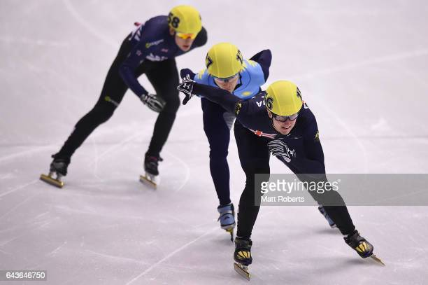 Alex Keith Bryant of Australia competes in the men's 1000 metre Short Track Speed Skating on day five of the 2017 Sapporo Asian Winter Games at...