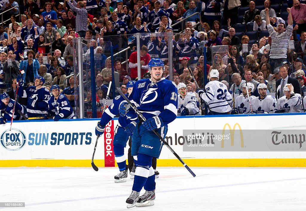 Alex Killorn #17 of the Tampa Bay Lightning celebrates after a goal during the third period of the game against the Tampa Bay Lightning at the Tampa Bay Times Forum on February 19, 2013 in Tampa, Florida.