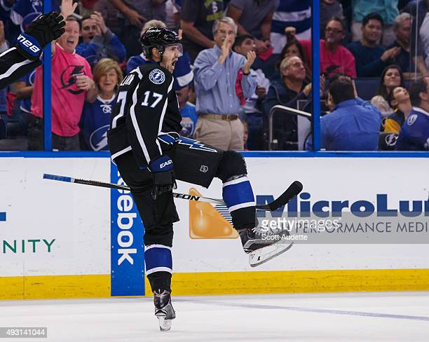 Alex Killorn of the Tampa Bay Lightning celebrates his goal against the Buffalo Sabres during the third period at the Amalie Arena on October 17 2015...