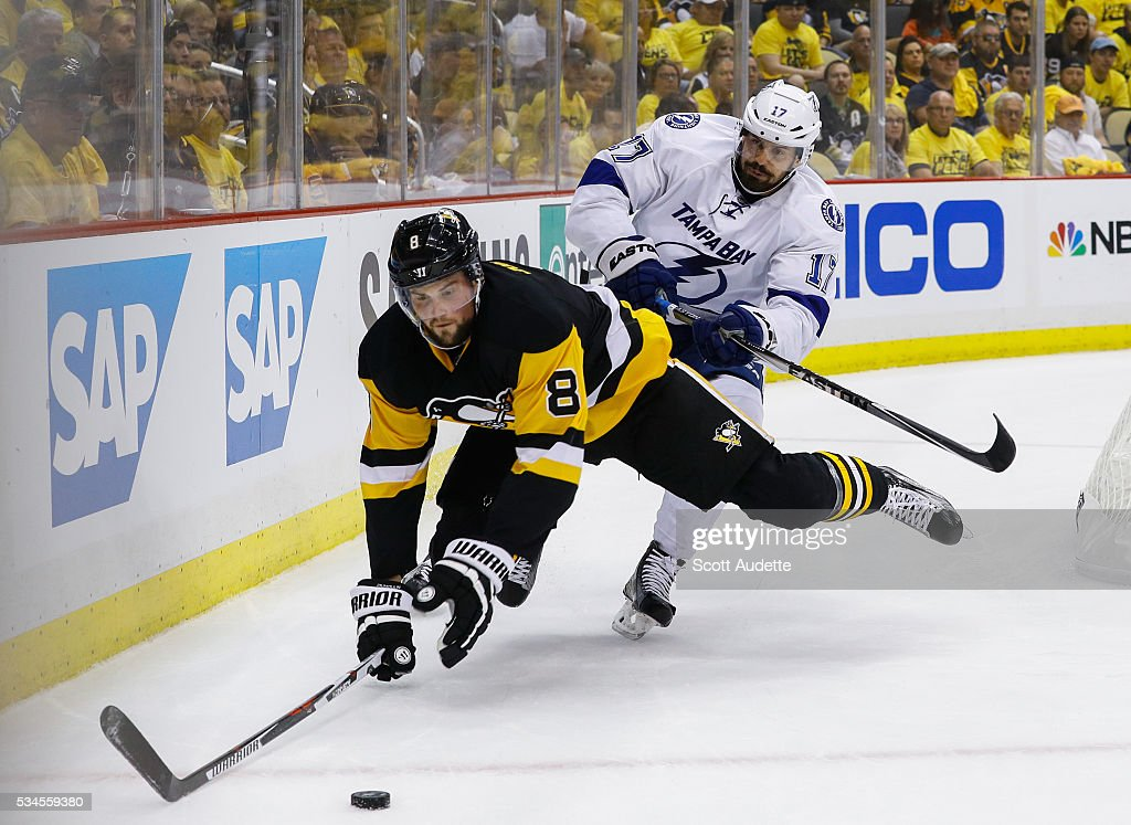 Alex Killorn #17 of the Tampa Bay Lightning checks <a gi-track='captionPersonalityLinkClicked' href=/galleries/search?phrase=Brian+Dumoulin&family=editorial&specificpeople=5894572 ng-click='$event.stopPropagation()'>Brian Dumoulin</a> #8 of the Pittsburgh Penguins during the first period of Game Seven of the Eastern Conference Finals in the 2016 NHL Stanley Cup Playoffs at the Amalie Arena on May 26, 2016 in Tampa, Florida.