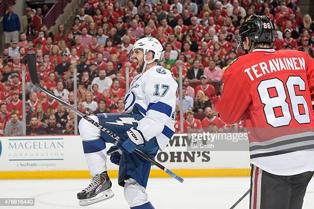 Alex Killorn of the Tampa Bay Lightning reacts after scoring against the Chicago Blackhawks in the second period during Game Four of the 2015 NHL...