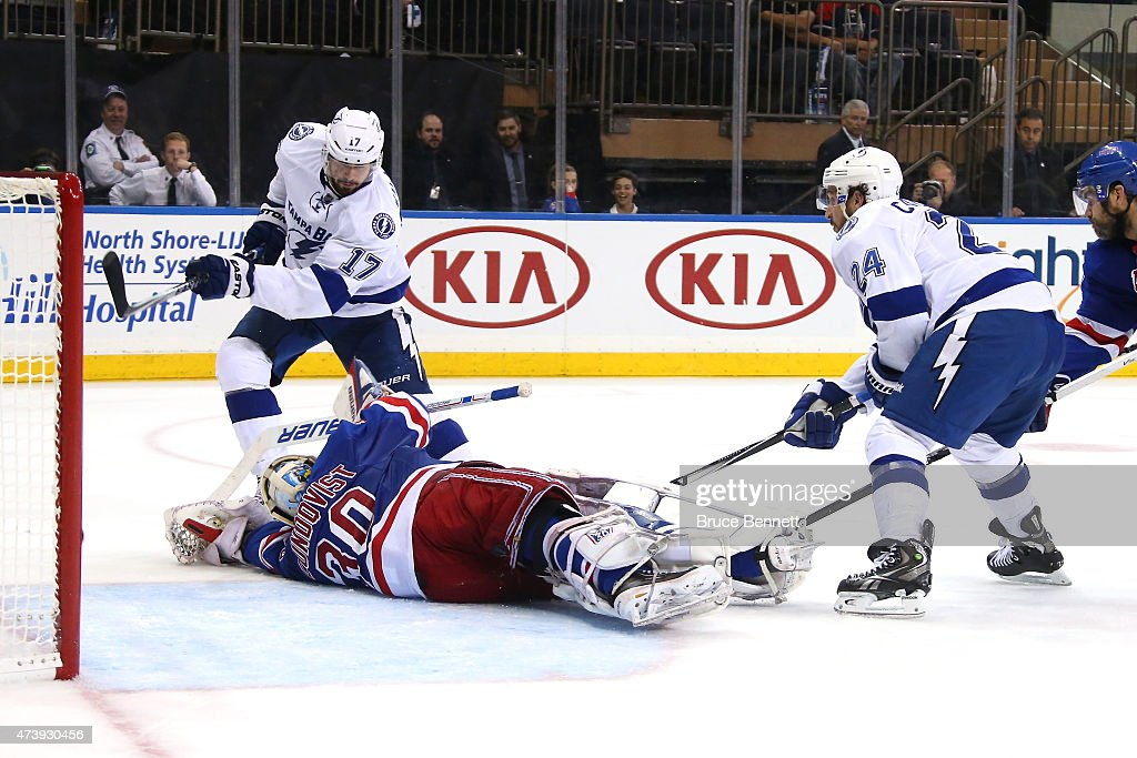 Alex Killorn #17 of the Tampa Bay Lightning score a goal in the third period against Henrik Lundqvist #30 of the New York Rangers during Game Two of the Eastern Conference Finals during the 2015 NHL Stanley Cup Playoffs at Madison Square Garden on May 18, 2015 in New York City.