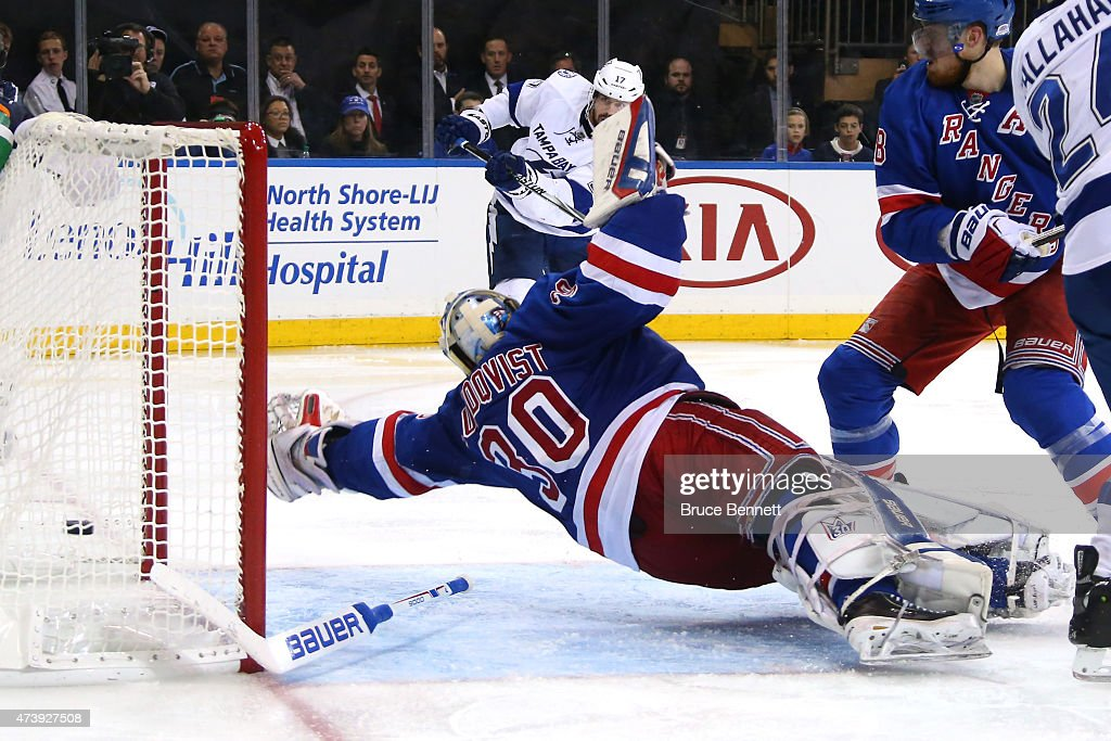 Alex Killorn #17 of the Tampa Bay Lightning scores a goal in the third period against Henrik Lundqvist #30 of the New York Rangers during Game Two of the Eastern Conference Finals during the 2015 NHL Stanley Cup Playoffs at Madison Square Garden on May 18, 2015 in New York City.