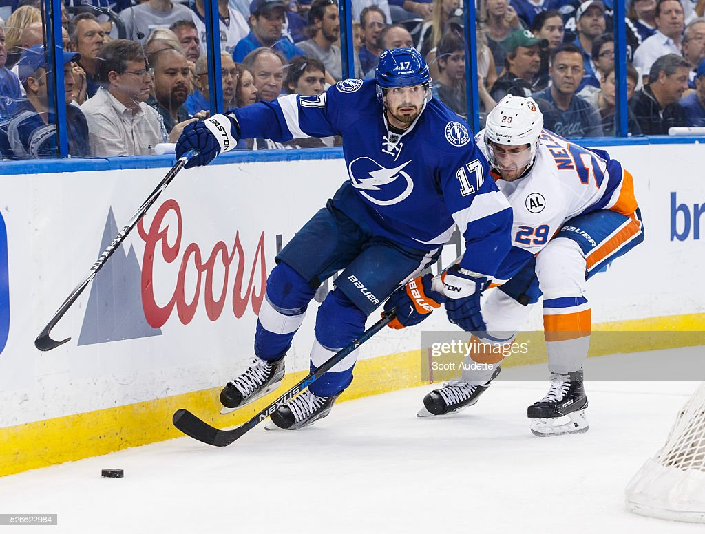 Alex Killorn #17 of the Tampa Bay Lightning skates against Brock Nelson #29 of the New York Islanders during the third period of Game Two of the Eastern Conference Second Round in the 2016 NHL Stanley Cup Playoffs at the Amalie Arena on April 30, 2016 in Tampa, Florida.
