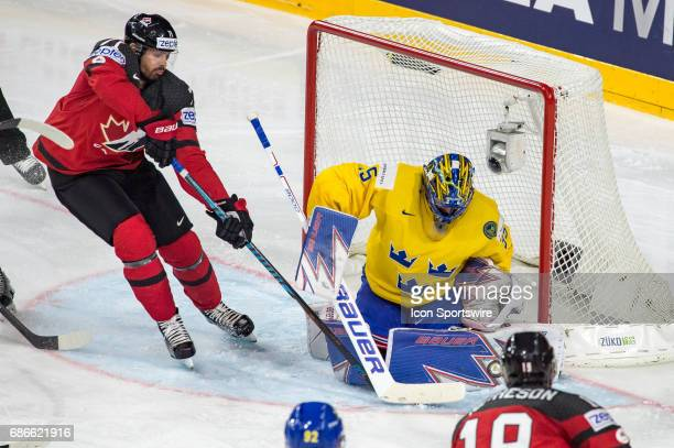 Alex Killorn tries to score against Goalie Henrik Lundqvist during the Ice Hockey World Championship Gold medal game between Canada and Sweden at...