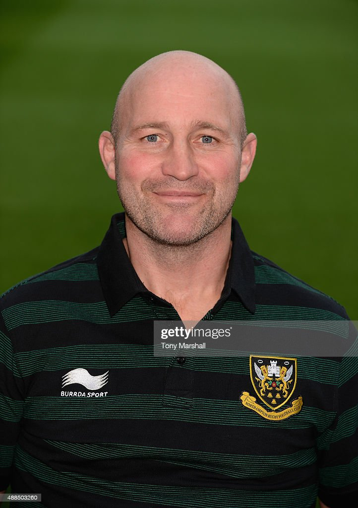 Alex King Coach of Northampton Saints poses for a portrait at the photocall held at Franklin's Gardens on September 16 2015 in Northampton England