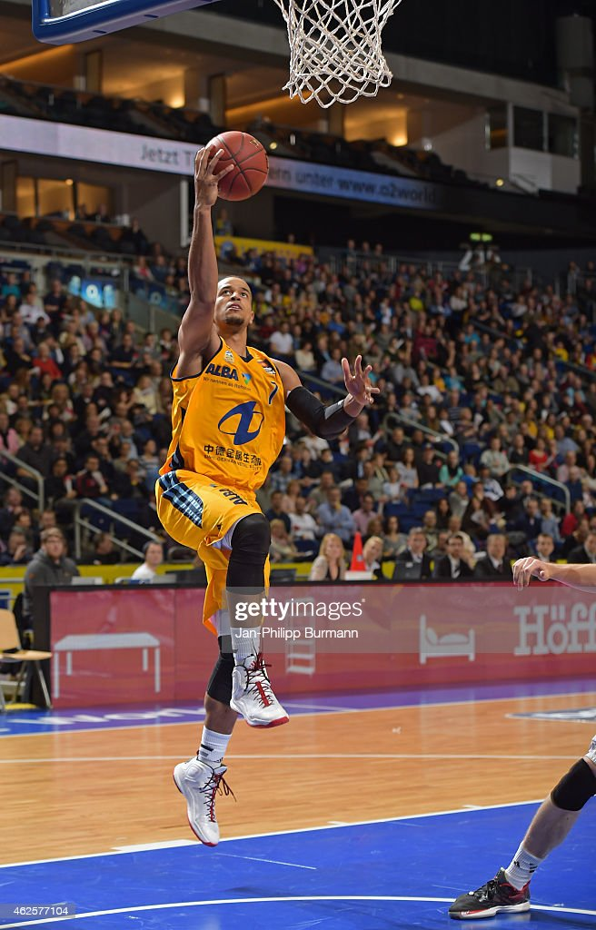 Alex King of ALBA Berlin throws the ball during the game between Alba Berlin and medi Bayreuth on January 31 2015 in Berlin Germany
