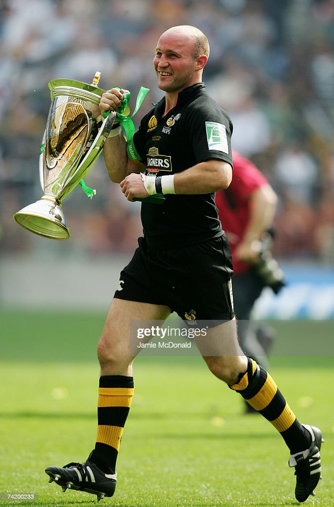 Alex King of London Wasps celebrates after winning the Heineken Cup Final between Leicester Tigers and London Wasps at Twickenham on May 20 2007 in...