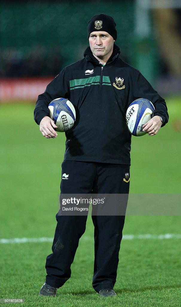 Alex King the Northampton backs coach issues instructions during the European Rugby Champions Cup match between Northampton Saints and Racing 92 at...