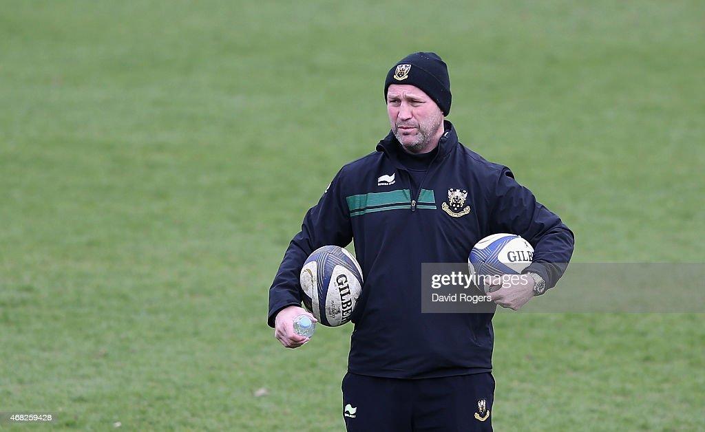 Alex King the Northampton backs coach looks on during the Northampton Saints training session held on April 1 2015 in Northampton England