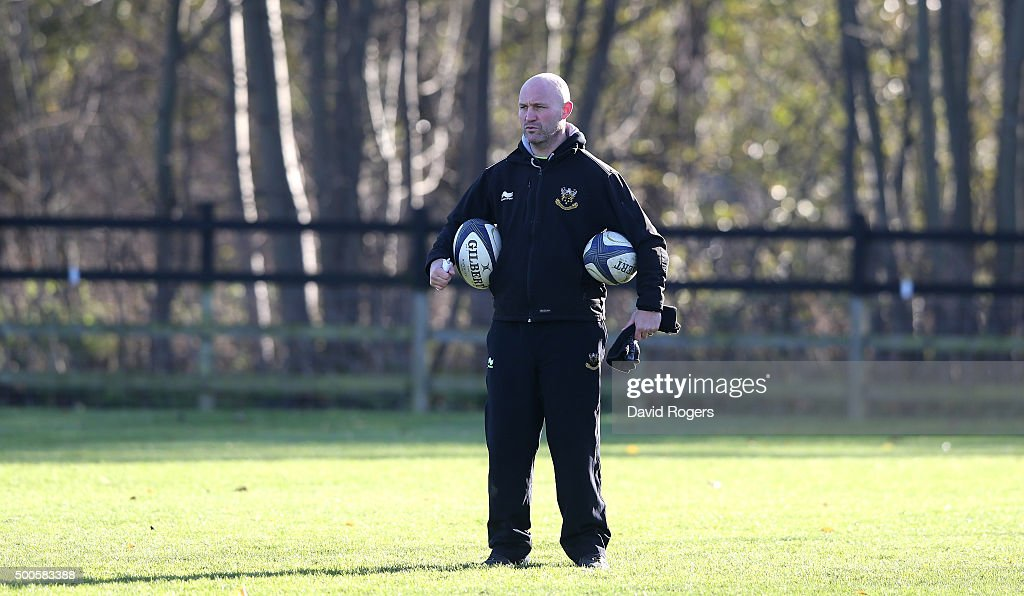 Alex King the Northampton backs coach looks on during the Northampton Saints training session held at Franklin's Gardens on December 9 2015 in...