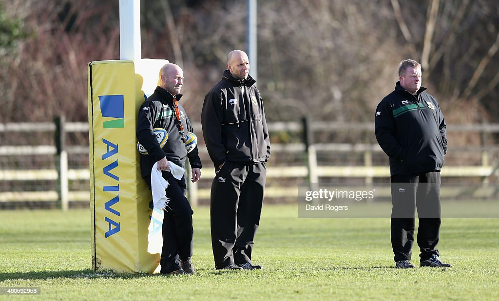Alex King the Northampton backs coach looks on with Jim Mallinder the Northampton director of rugby and Dorian West the Northampton forwards coach...
