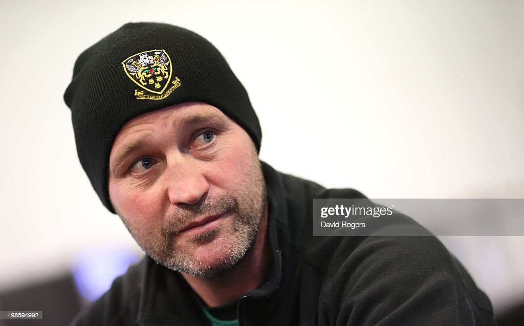 Alex King the Northampton Saints backs coach faces the media during the Northampton Saints media session at Franklin's Gardens on November 24 2015 in...