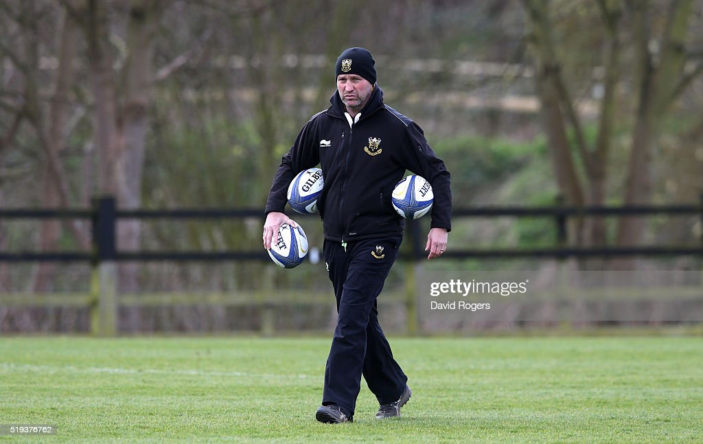 Alex King the Northampton Saints backs coach looks on during the Northampton Saints training session held at Franklin's Gardens on April 6 2016 in...