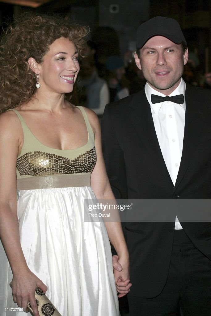 Alex Kingston and Christian Slater during 2006 Laurence Olivier Awards - Arrivals at London Hilton in London, United Kingdom.