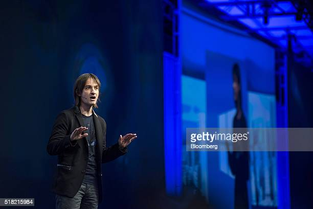 Alex Kipman evangelist of the HoloLens for Microsoft Corp speaks during a keynote session at the Microsoft Developers Build Conference in San...